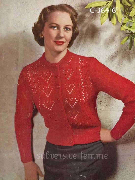 Ten of Hearts Cardigan, c. 1950s – vintage knitting pattern from Sydney's Subver
