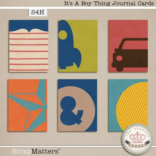 Quality DigiScrap Freebies: It's A Boy Thing journal cards freebie from The Cluster Queen