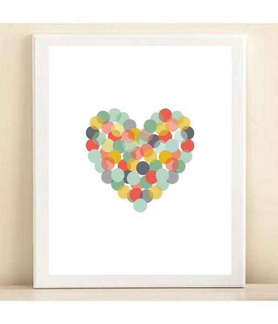 Coral, Yellow, & Aqua Confetti Heart print poster