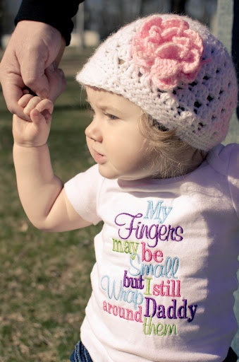 My Fingers may be small, but I still Wrap Daddy around them--Embroidered Shirt or Onesie. $22.00, via Etsy.
