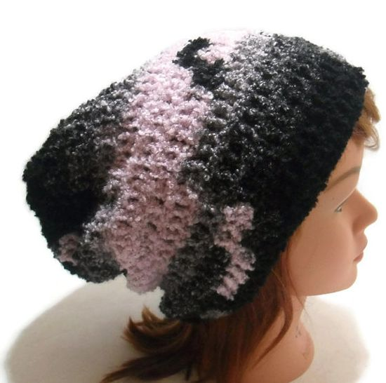 Crochet Fuzzy Ombre Black Grey Pink Slouchy by AddSomeStitches, $24.00