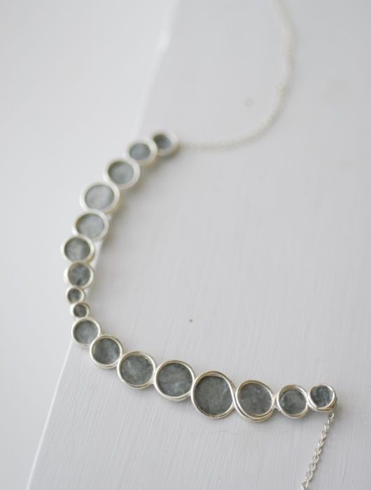 Minimalist Gray Sterling Silver Bubble Necklace by TaylorsEclectic, $80.00