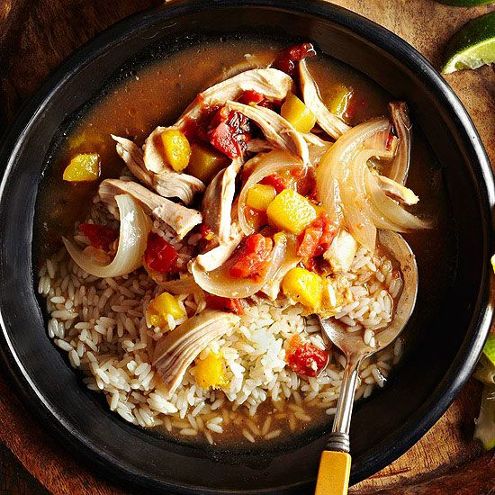 For a tropical take on slow cooker chicken, try our Mango Chicken Tinga! More slow cooker chicken recipes: www.bhg.com/...