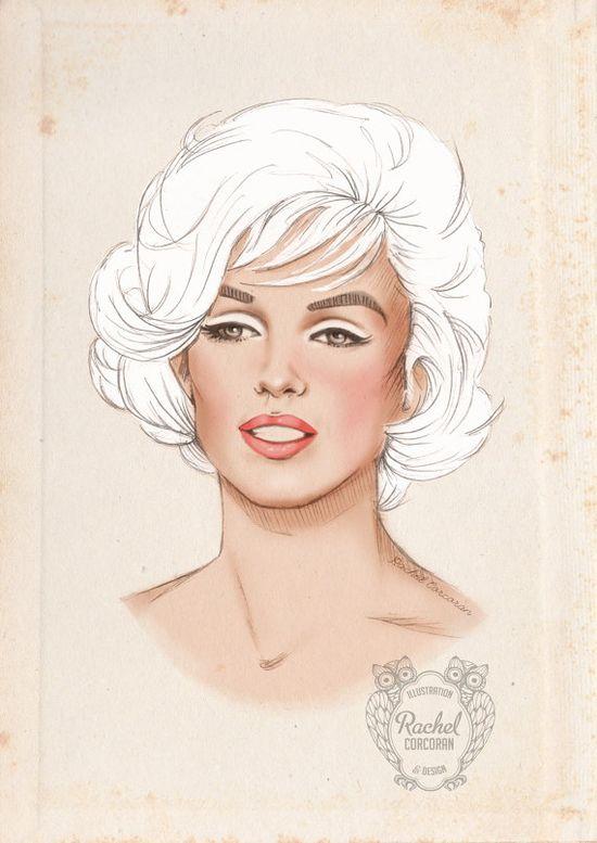 MARILYN MONROE Portrait Poster Print - Fashion Illustration - Original Pencil Drawing - 1960s Fashion - Red Lips - Beige - Pale - Pastel