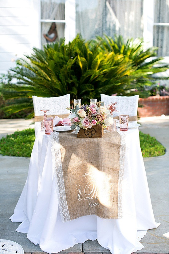 burlap + lace sweetheart table
