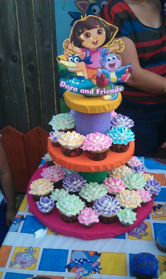 Dora Party IDEA !!!    I made the cupcakes and the cupcake tower!