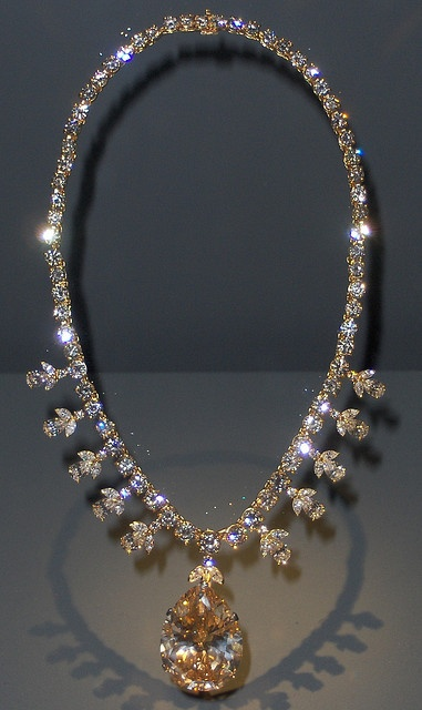 Victoria-Transvaal Diamond Necklace: Museum of Natural History, Washington D.C.    67.89 carats    Look for flashes of color in the 116 facets of this pear-shaped, champagne-colored diamond. Cut from a 240-carat crystal, it is suspended from a chain of 108 diamonds that total about 45 carats. The necklace was designed by Baumgold Brothers, Inc... INCREDIBLE!