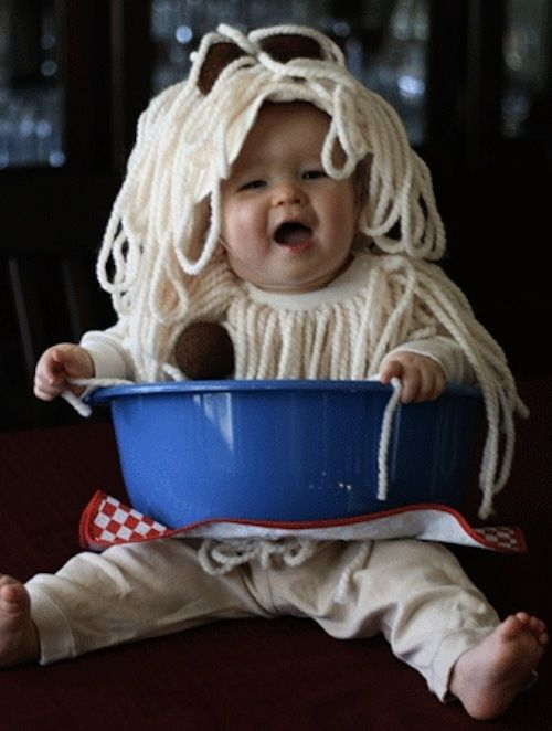 19 creative costumes for babies who are too young to walk. Bowl of spaghetti?  Genius!