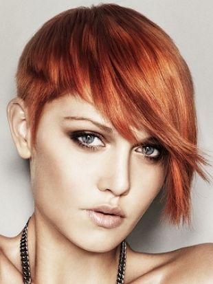 asymmetrical short red hair