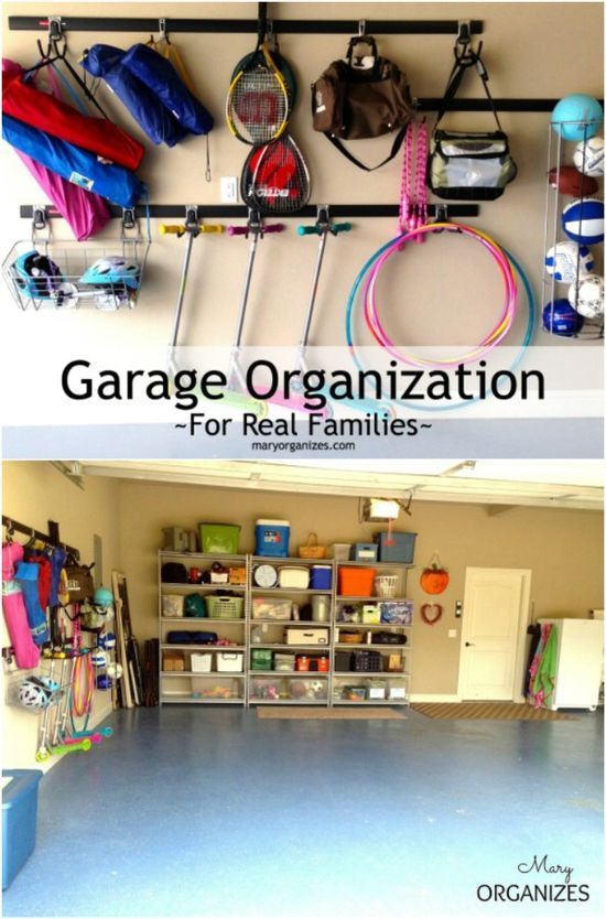 Garage Organization for Real Families - You can find tracks with hooks on them at your local hardware store and these are great for organizing the garage. Just hang the track on the wall and the hooks store all sorts of things.