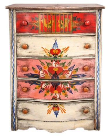 Peter Hunt Painted Furniture High Chest of Drawers with Birds. This is a beautiful chest but this pin is FULL of other beautiful examples of painted furniture. It also has tips and paint samples!