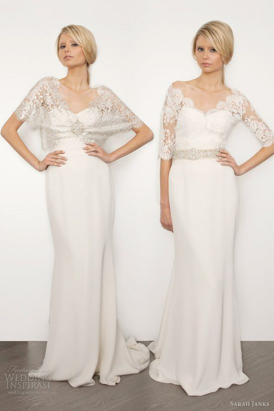 sarah janks bridal 2013 bella wedding dresses lace shrug top