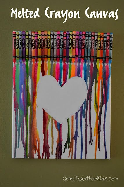 DIY Valentine Melted Crayon Canvas