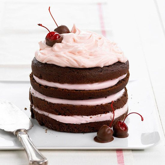 Eye-rollingly scrumptious looking Chocolate-Cherry Stack Cake. #food #chocolate #cherry #cake #birthday #dessert