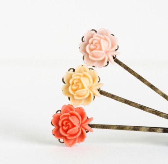 Hair Pins - Bobby Pins - Vintage Style Flowers - Antique Brass - Orange Apricot Peach
