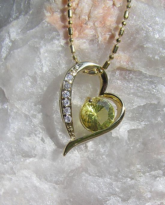 Golden Yellow & White Topaz Heart Pendant  by SunnyCrystals, $14.75