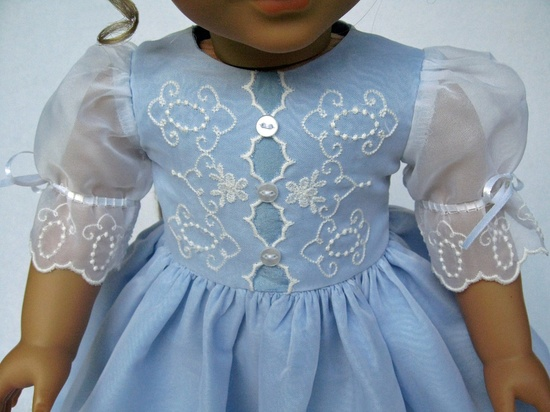 RESERVED  Blue Taffeta and White Organza Embroidered Dress