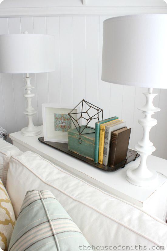 White lamp vignette. The House of Smiths - Home DIY Blog - Interior Decorating Blog #vignette #houseofsmiths