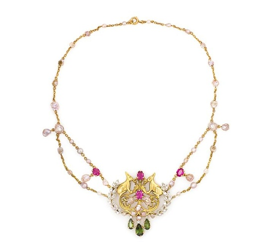 Edwardian Platinum Topped Gold, Natural Pearl, Tourmaline & Diamond Necklace, Tiffany & Co., c. 1904,   consisting of a central gold wreath & hare motif engraved openwork plaque with platinum topped foliate side accents containing numerous old European cut diamonds, 8 baroque pearls & 2 oval brilliant cut pink tourmalines, with 3 pear shape green tourmaline & diamond pendants, plaque suspended from a double chain containing 2 oval brilliant cut pink tourmalines & numerous baroque pearls.