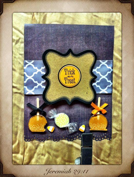 Trick or treat ooak handmade Halloween card on Etsy, $4.00