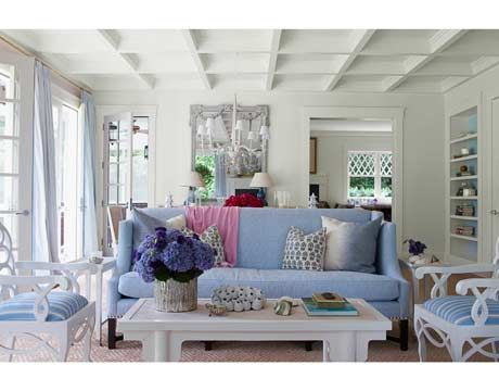 I love the detail on this white ceiling. I am always a fan of blue and white. living room.