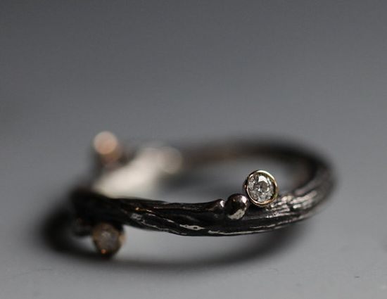 Wedding band twig with diamond sterling silver 14k yellow by iacua, $533.00