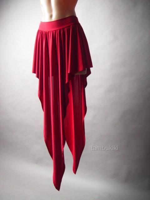 Red Salsa Spanish Latin Tango Dance Evening Handkerchief Hem 31 MV Skirt s M L