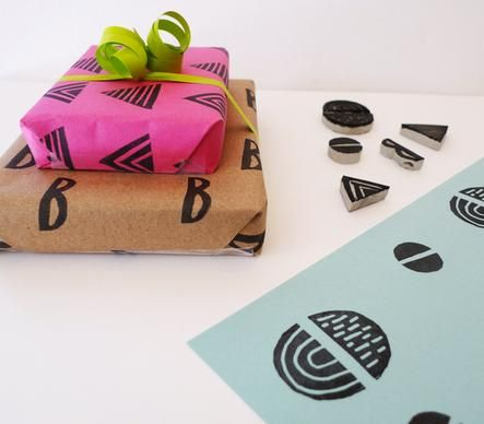 hand-stamped gift wrap