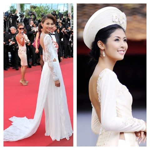A nice combination of ao dai and backless dress