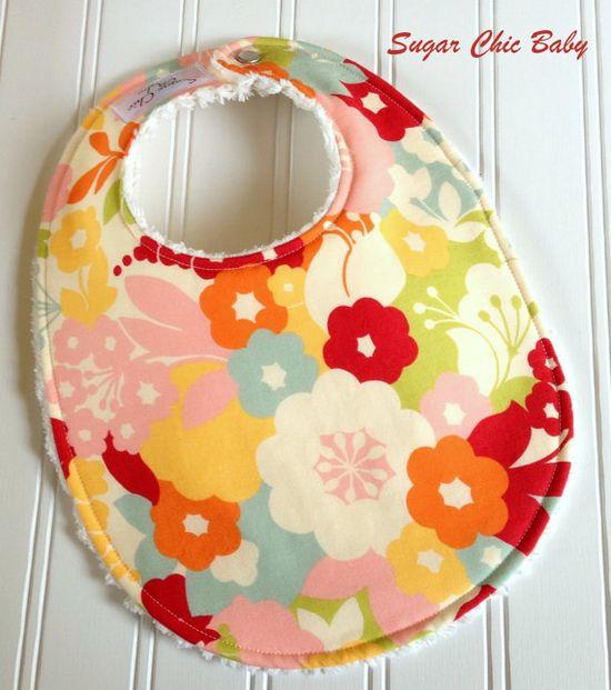 Baby Girl Bib & Burp Cloth Set Triple Layer by SugarChicBaby