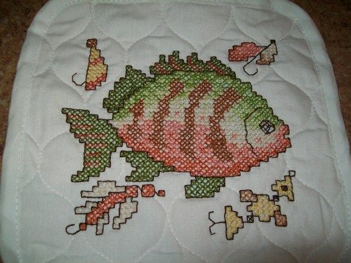 Fish and lures hand embroidered cross stitch pot holder