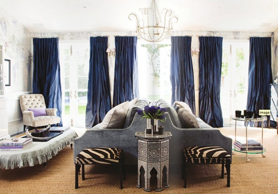 Living Room by Windsor Smith - love the #navy and the #zebra pattern.