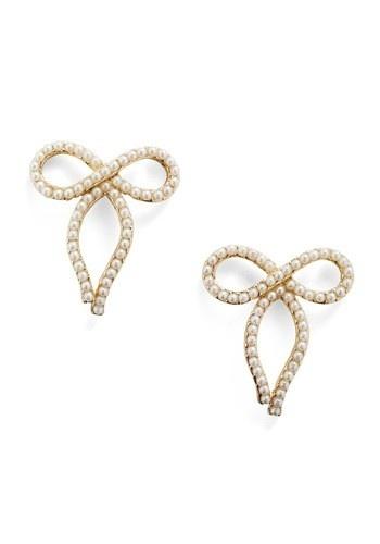 Pearl Bow Earrings...modcloth
