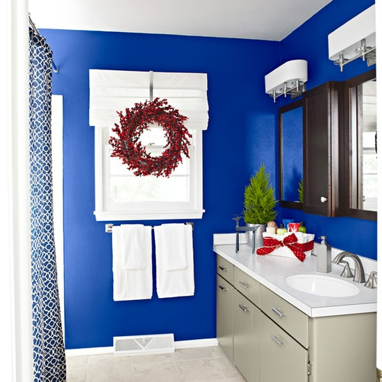 Bathroom overview.  Cool idea to use an over the door wreath hanger to hang holiday wreaths over curtain rods to hang wreaths in any indoor window in the house.