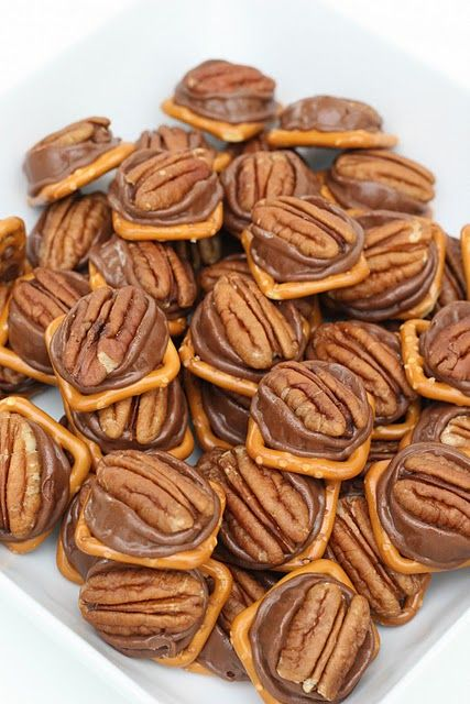 Holiday treat or gift~ Pretzels, Rolos and pecans. These are so easy and they taste just like turtles or millionaires.