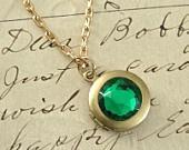 Locket Gold Necklace Emerald Green Rhinestone May Birthstone Taurus Vi...  chloesvintagejewelry  $24.00 USD