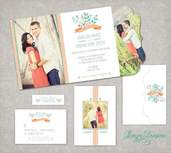 Wedding Invitation  Boutique Tri Folded Photo Design by Jeneze, $25.00