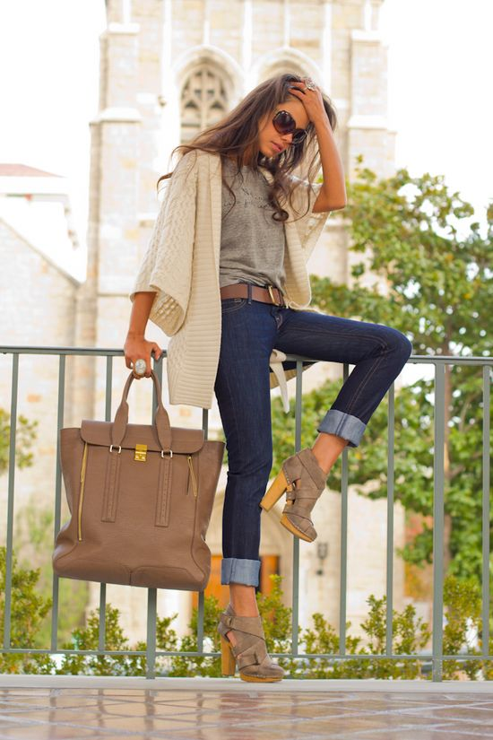 Cardigan, Heels and Bag