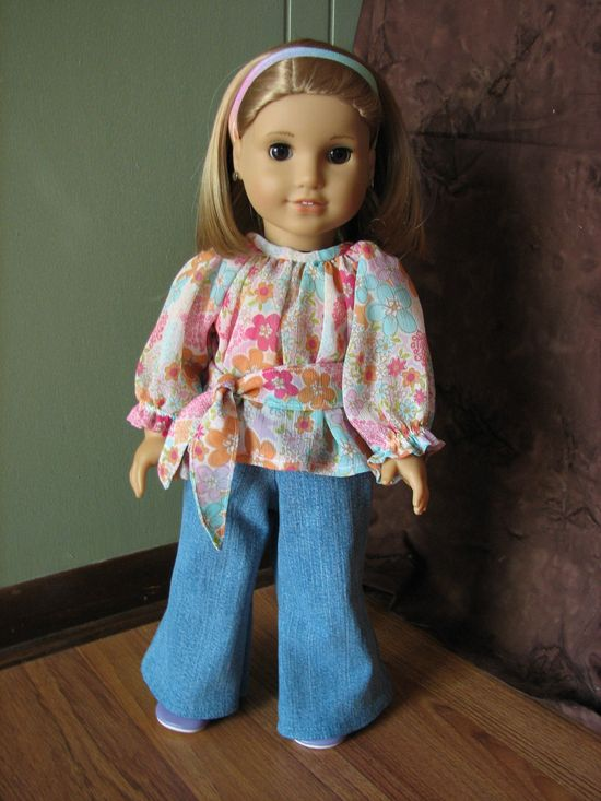 "American Girl Doll Clothes / 18"" Doll Outfit - Peasant Shirt and Bell Bottom Jeans. $18.00, via Etsy."