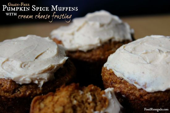 Grain-Free Pumpkin Spice Muffins with Cream Cheese Frosting - Girl Meets Nourishment
