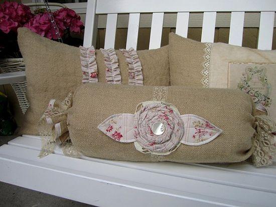 shabby burlap pillows