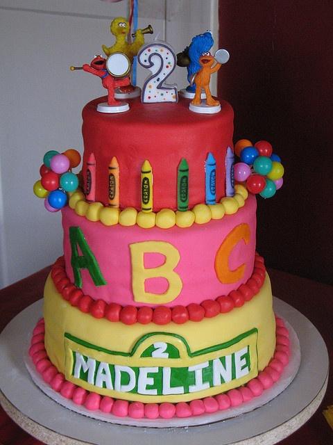 Sesame Street cake -- I like the color scheme!