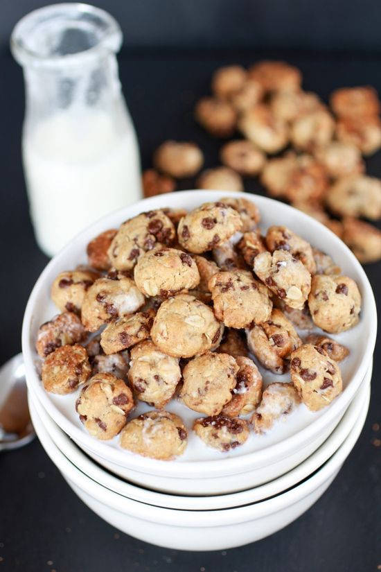 Healthy Oatmeal Chocolate Chip Cookie Cereal by halfbakedharvest: Breakfast -on-the-go. #Cookies #Cereal #Healthy #Breafkaast-on-the_Go