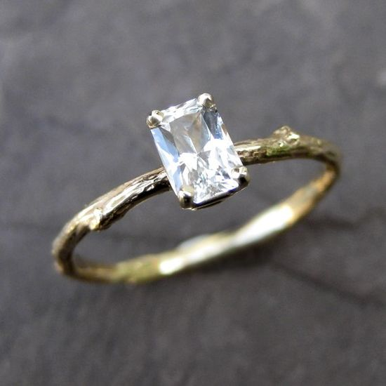 White Sapphire Twig Ring Emerald Cut in 14k Gold.