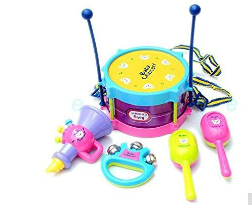 Educational Children Toy Musical Instrument 5pcs Creative Drum Band Toy Set Practical Gift for Kids