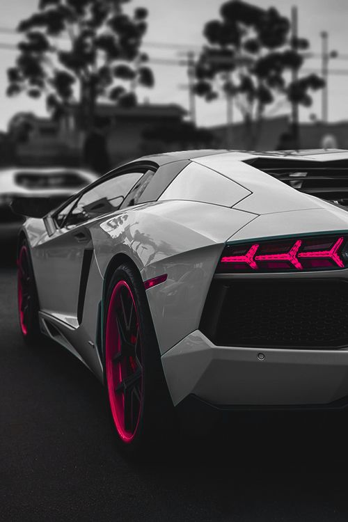 ? Luxury car Lamborghini Grey with touch of pink