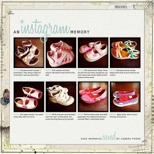 Shoe memories by Cathy Z. HAVE TO DO A PAGE LIKE THIS FOR BOTH KIDS! Maybe one for Emma with her bows, too?