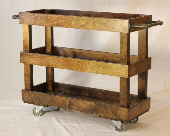 Wood Kitchen Cart with Casters and Industrial Pipe Towel Bars. would be easy to build one of these for myself!
