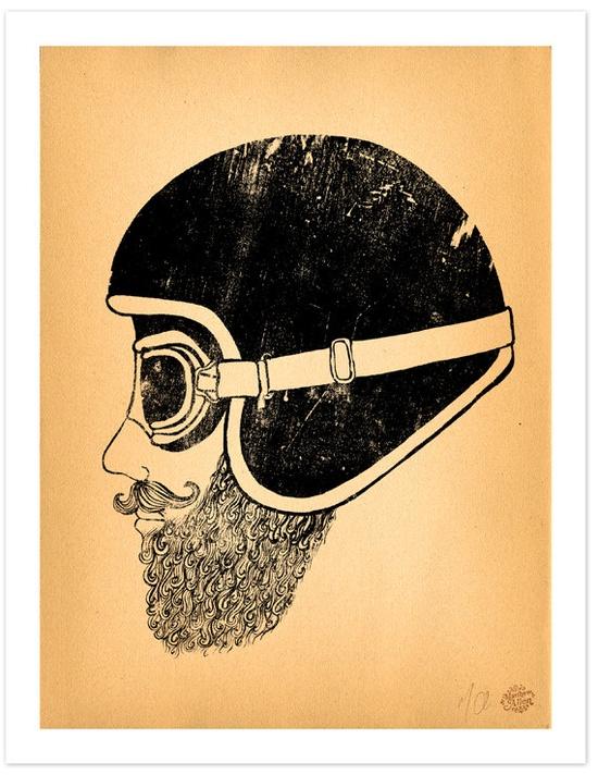 "Motorcycle Art 11"" x 14"" Art Print ""Moto Head"". $50.00"