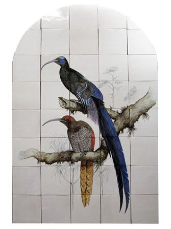 birds of paradise tile panel
